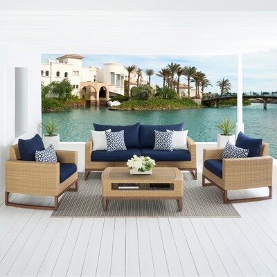 Addison 4 Piece Deep Seating Group with Cushions Fabric: Navy Blue