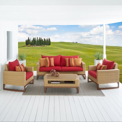 Addison 4 Piece Deep Seating Group with Cushions Fabric: Sunset Red