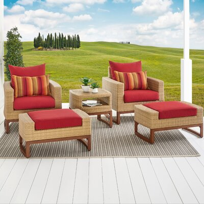 Addison 5 Piece Deep Seating Group with Cushions Fabric: Sunset Red