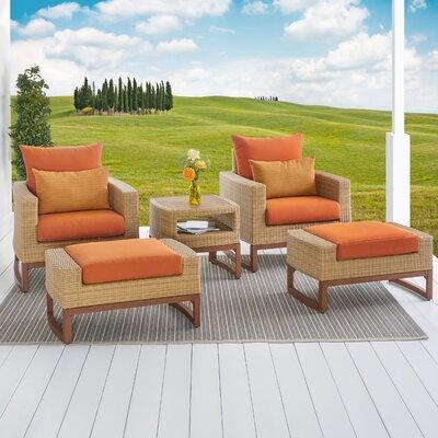 Addison 5 Piece Deep Seating Group with Cushions Fabric: Tikka Orange