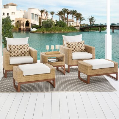 Addison 5 Piece Deep Seating Group with Cushions Fabric: Moroccan Cream