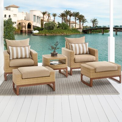 Addison 5 Piece Deep Seating Group with Cushions Fabric: Maxim Beige