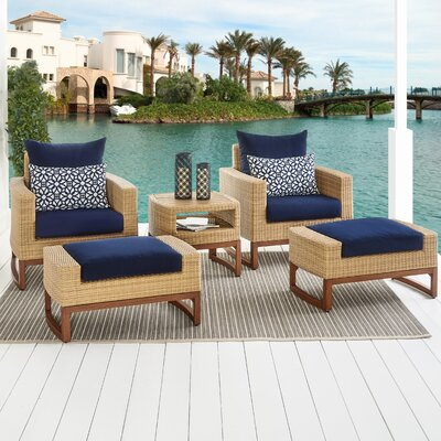 Addison 5 Piece Deep Seating Group with Cushions Fabric: Navy Blue