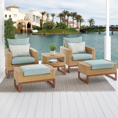 Addison 5 Piece Deep Seating Group with Cushions Fabric: Spa Blue