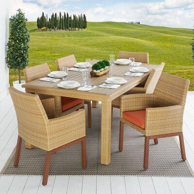 Addison 7 Piece Dining Set Cushion Color: Tikka Orange