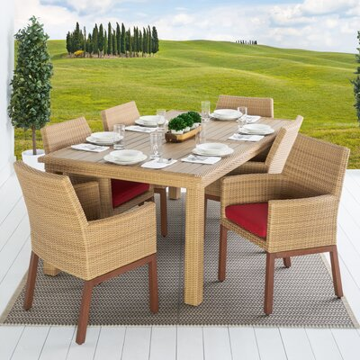 Addison 7 Piece Dining Set Cushion Color: Sunset Red