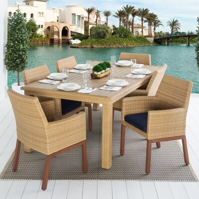 Addison 7 Piece Dining Set Cushion Color: Navy Blue