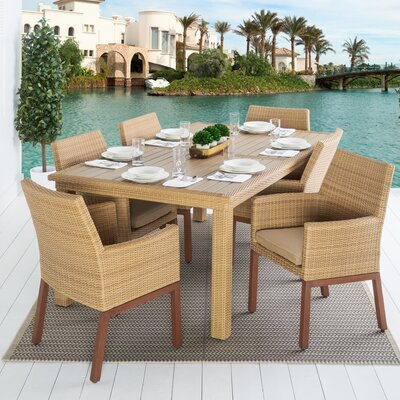 Addison 7 Piece Dining Set Cushion Color: Maxim Beige
