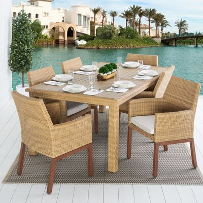Addison 7 Piece Dining Set Cushion Color: Moroccan Cream