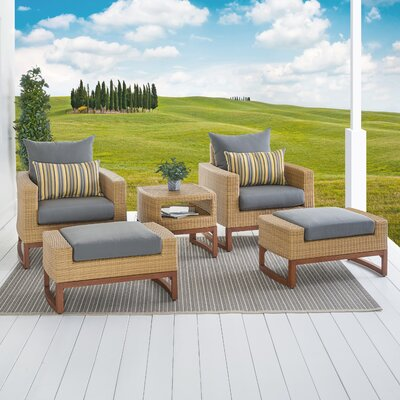 Addison 5 Piece Deep Seating Group with Cushions Fabric: Charcoal Gray