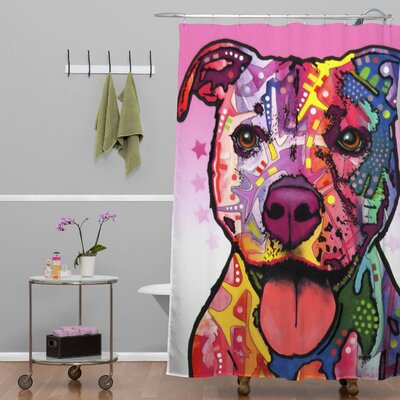 Dean Russo Dogs and Cats Cherish the Pitbull Shower Curtain
