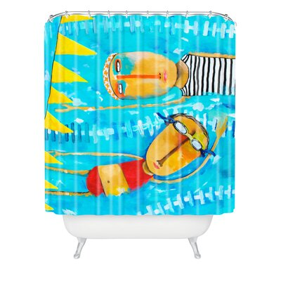 Robin Faye Gates Swimming is Hard Extra Long Shower Curtain