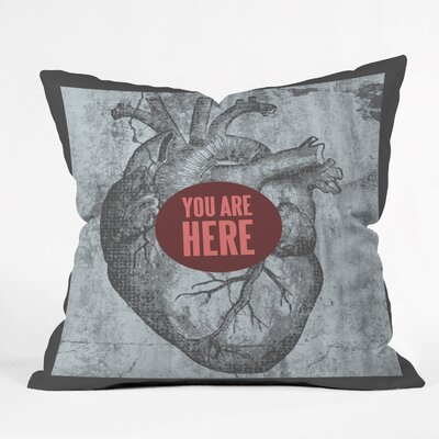 Wesley Bird You Are Here Throw Pillow Size: 18 x 18
