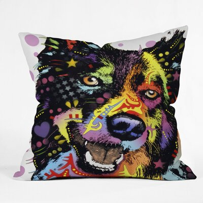 Dean Russo Dogs and Cats Border Collie Throw Pillow Size: Small
