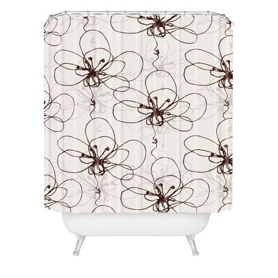 Rachael Taylor Woven Polyester Tonal Floral Extra Long Shower Curtain