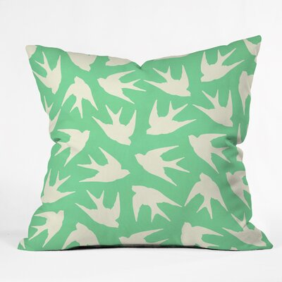 Jacqueline Maldonado Birds Celadon Indoor/Outdoor Throw Pillow Size: Small