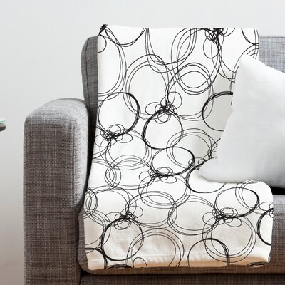 Rachael Taylor Circles Throw Blanket Size: Small, Color: White Black Circles
