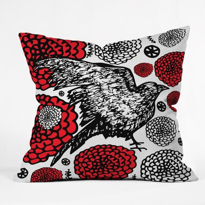 Julia Da Rocha Raven Rose Throw Pillow Size: Small
