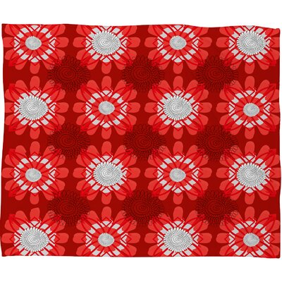Julia Da Rocha Retro Flowers Fleece Throw Blanket Size: Large