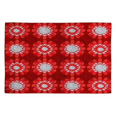 Julia Da Rocha Retro Flowers Red Area Rug Rug Size: 2 x 3