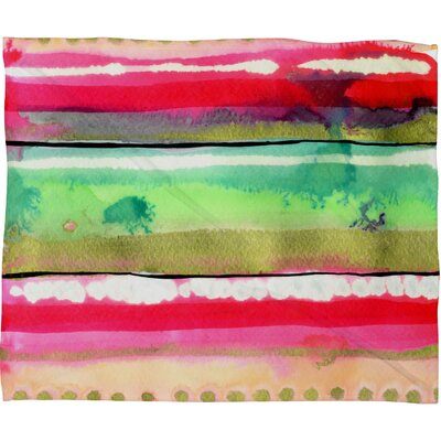 CayenaBlanca Ink Stripes Fleece Throw Blanket Size: Large