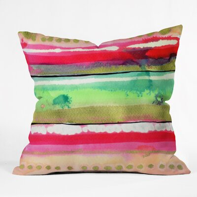 CayenaBlanca Ink Stripes Indoor Throw Pillow Size: Large