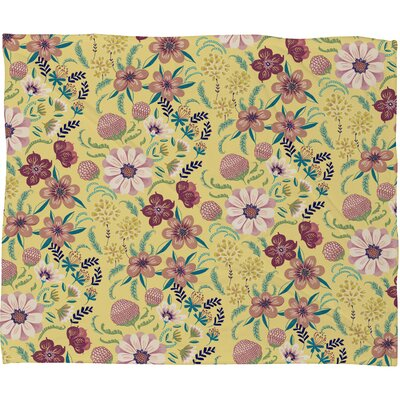 Pimlada Phuapradit Canary Floral Fleece Throw Blanket Size: Large