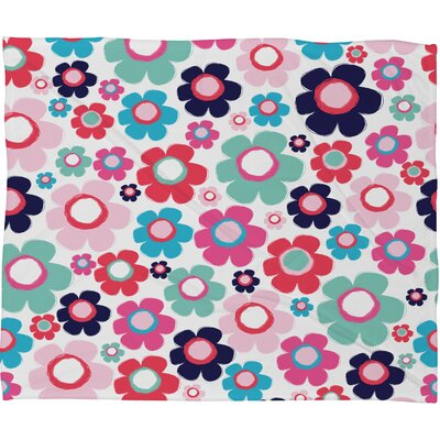 Ali Benyon Indigo Flowers Fleece Throw Blanket Size: Large
