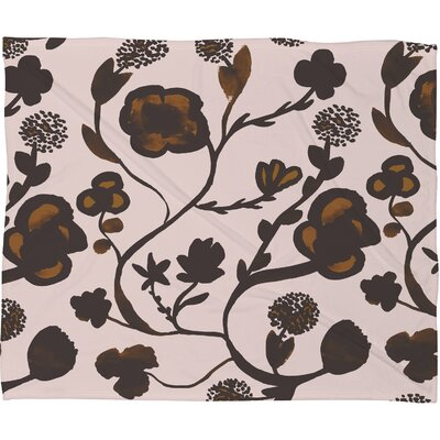 Georgiana Paraschiv Floral II Fleece Throw Blanket Size: Small