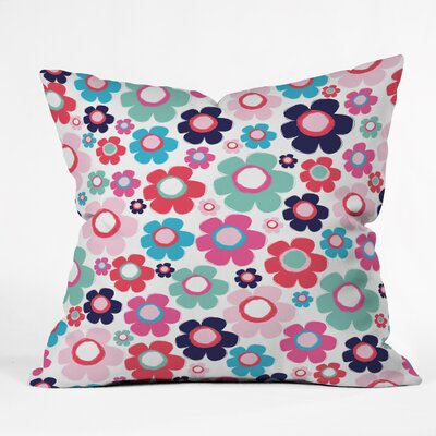 Ali Benyon Indigo Flowers Indoor Throw Pillow Size: Large