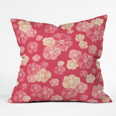 Lisa Argyropoulos Blossoms On Coral Throw Pillow Size: Small
