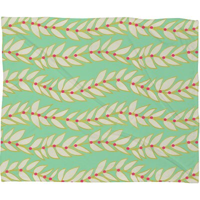 Jacqueline Maldonado Leaf Dot Stripe Mint Fleece Throw Blanket Size: Small