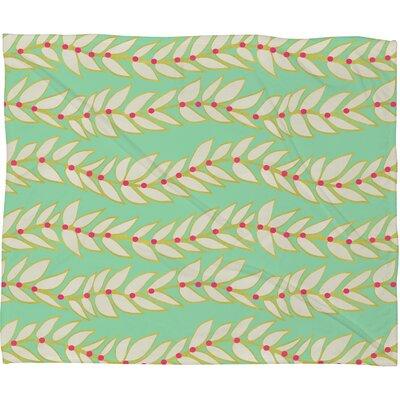 Jacqueline Maldonado Leaf Dot Stripe Mint Fleece Throw Blanket Size: Large