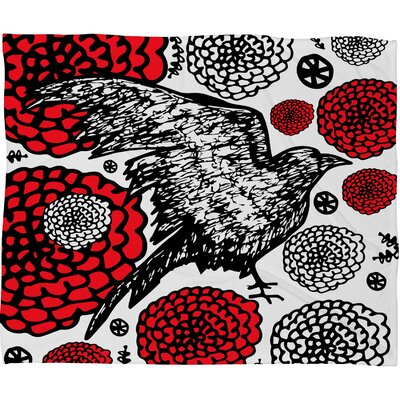 Julia Da Rocha Raven Rose Fleece Throw Blanket Size: Large