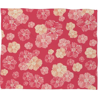 Lisa Argyropoulos Blossoms On Coral Fleece Throw Blanket Size: Medium