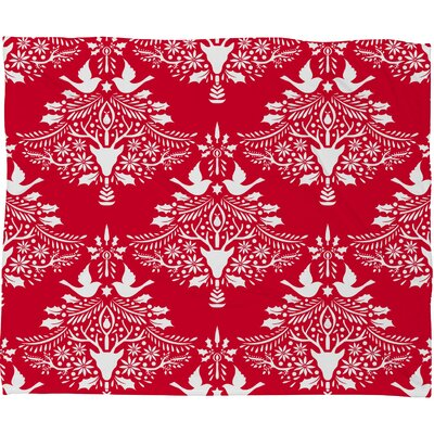 Jacqueline Maldonado Christmas Paper Cutting Plush Fleece Throw Blanket Size: Large, Color: Red