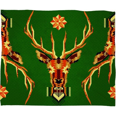 Chobopop Geometric Deer Plush Fleece Throw Blanket Size: Small