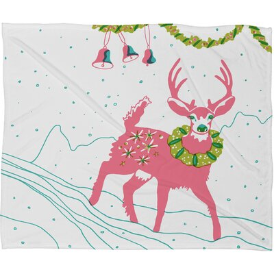 Betsy Olmsted Holiday Deer Plush Fleece Throw Blanket Size: Medium