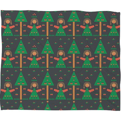 Gabriela Larios Angels Plush Fleece Throw Blanket Size: Large, Color: Green