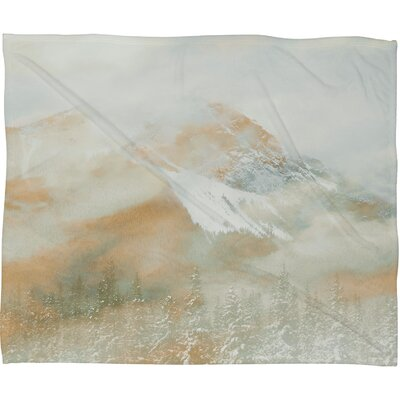 Caleb Troy Banff Painted Christmas Plush Fleece Throw Blanket Size: Large, Color: Gold