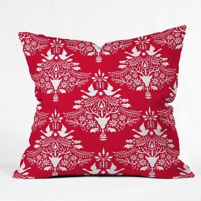 Jacqueline Maldonado Christmas Paper Cutting Throw Pillow Size: Medium, Color: Red