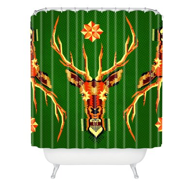 Chobopop Geometric Deer Shower Curtain