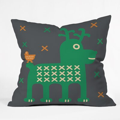 Gabriela Larios Reindeer and Birdy Throw Pillow Size: Medium