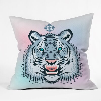 Chobopop Snow Tiger Throw Pillow Size: Large