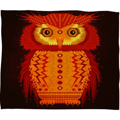 Chobopop Geometric Owl Plush Fleece Throw Blanket Size: Small