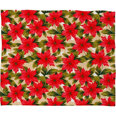 Aimee St Hill Poinsettia Plush Fleece Throw Blanket Size: Large