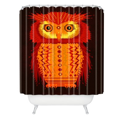 Chobopop Geometric Owl Shower Curtain