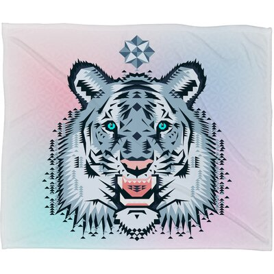 Chobopop Snow Tiger Plush Fleece Throw Blanket Size: Large