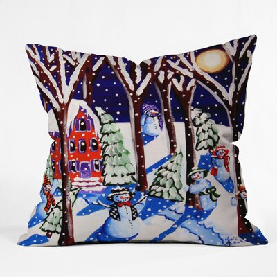 Renie Britenbucher Magic Snowmen Throw Pillow Size: Medium