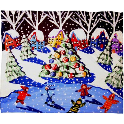 Renie Britenbucher Christmas Ice Skaters Plush Fleece Throw Blanket Size: Small